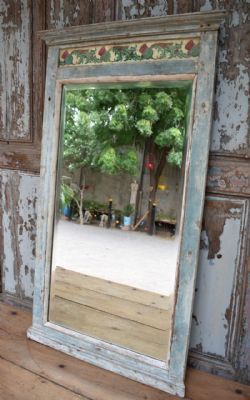 Antique Colonial Mirror with decorative vintage tiles <b>SOLD<b>